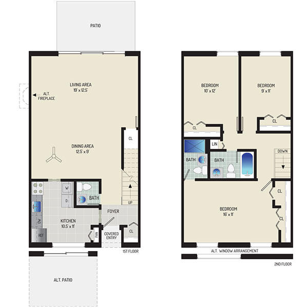 Londonderry Apartments - Floorplan - 3 BR + 2.5 BA Townhome
