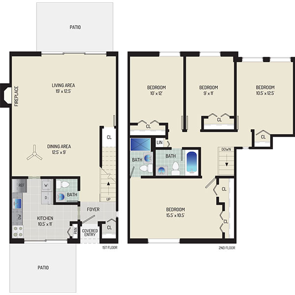Londonderry Apartments - Floorplan - 4 BR + 2.5 BA Townhome