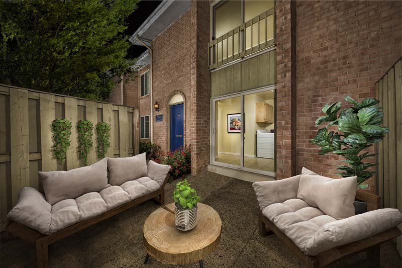 Relaxing patios in townhomes at Londonderry Apartments in Gaithersburg, MD