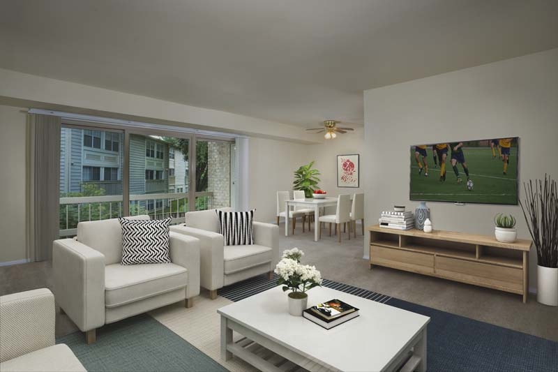 Spacious living and dining area at Londonderry Apartments in Gaithersburg, MD