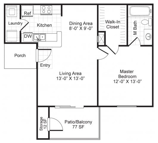 Westmount at London Park Luxury Apartment Homes - Floorplan - A1