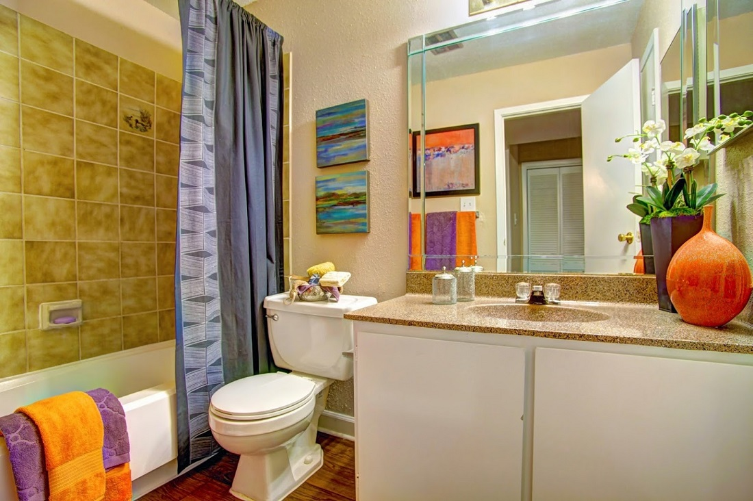 Spa-Inspired Bathrooms at Westmount at London Park Apartments in Houston, TX