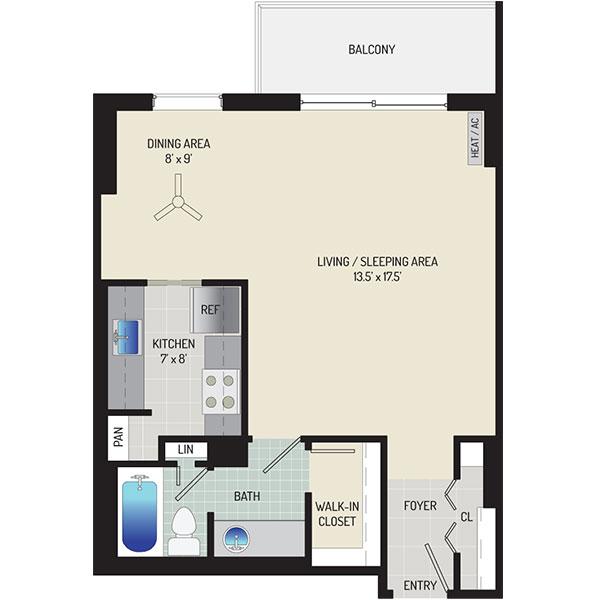London Park Towers Apartments - Floorplan - Studio
