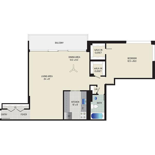 London Park Towers Apartments - Floorplan - 1 Bedroom + 1 Bath