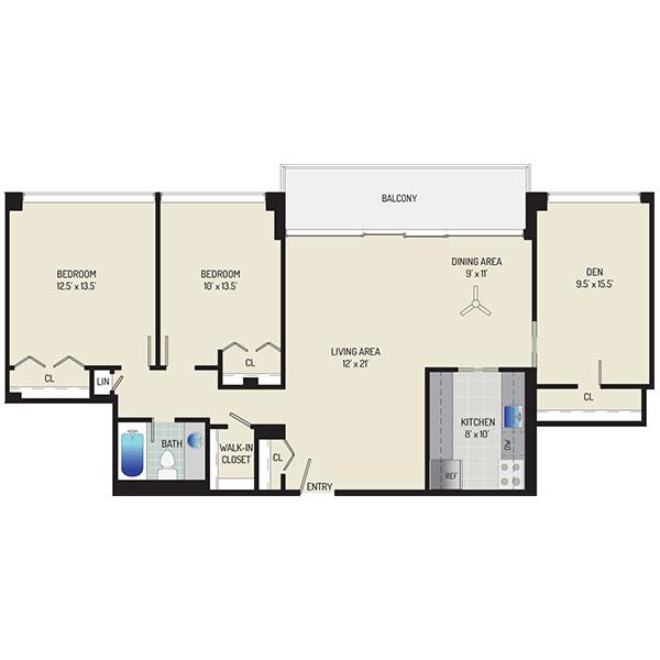 London Park Towers Apartments - Floorplan - 2 Bedrooms + 1 Bath