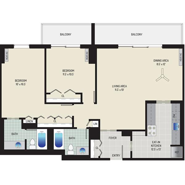 London Park Towers Apartments - Floorplan - 2 Bedrooms + 2 Baths