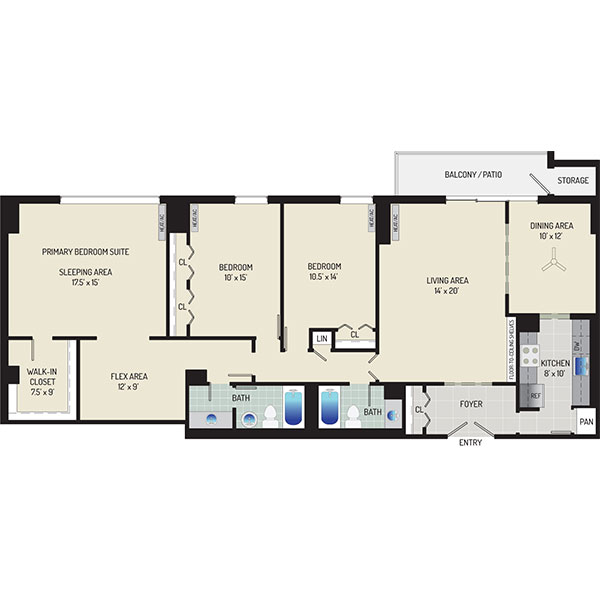 London Park Towers Apartments - Floorplan - 3 Bedrooms + 2 Baths