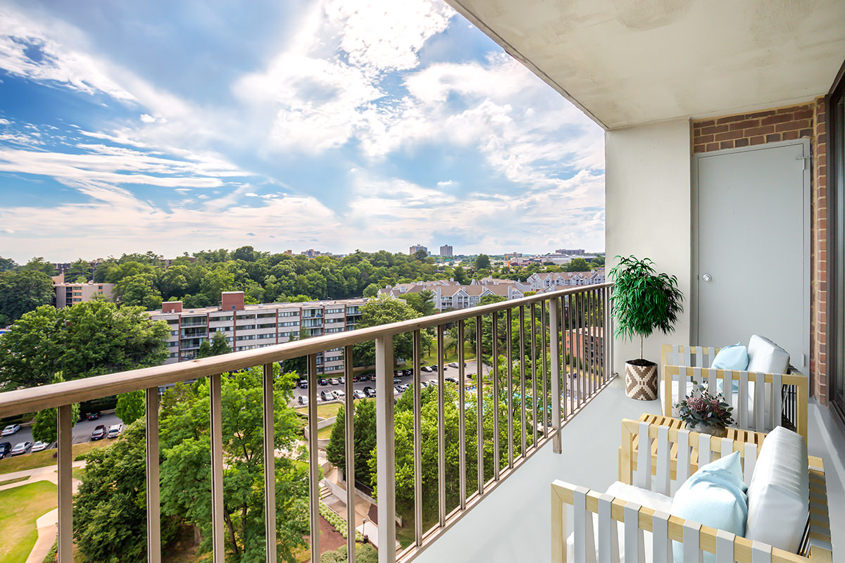 Large covered balcony at London Park Towers Apartments in Alexandria, VA