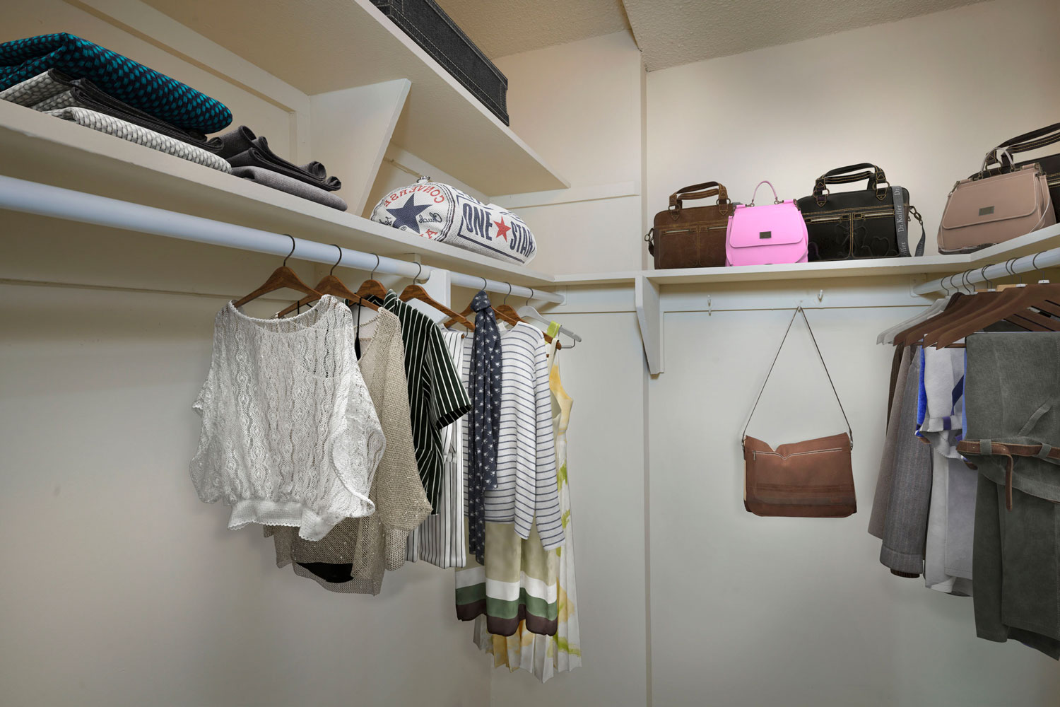 Large walk-in closets available at London Park Towers Apartments in Alexandria, VA