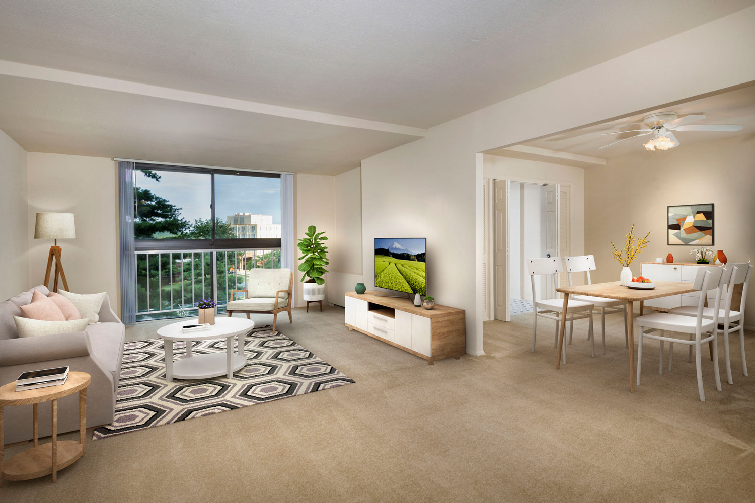 Spacious living and dining area at London Park Towers Apartments in Alexandria, VA