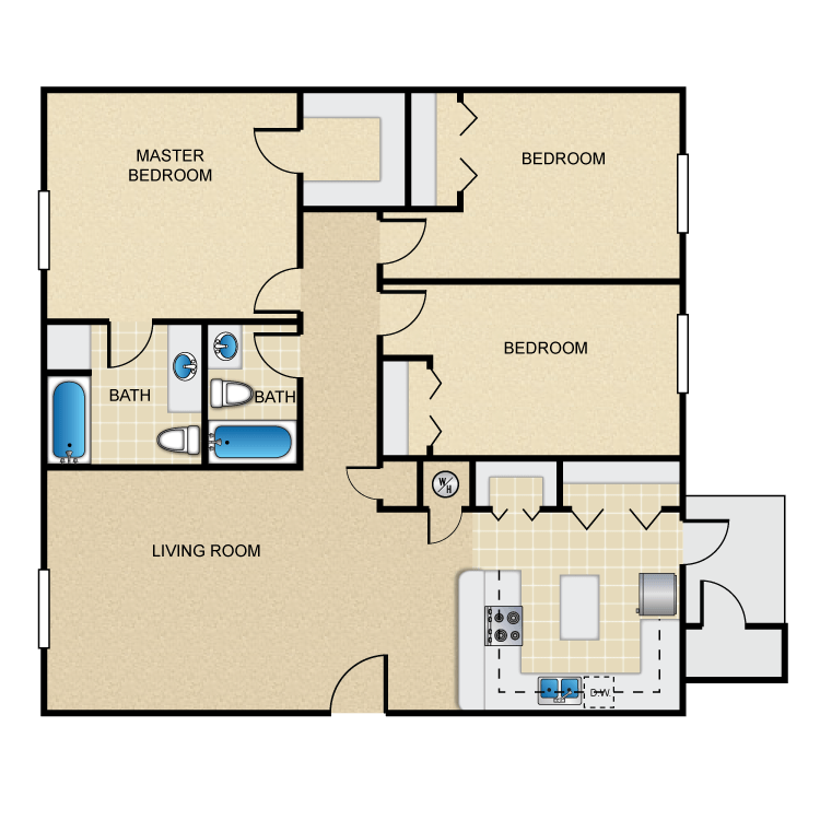 Magnolia Landing Apartments - Floorplan - 3BR