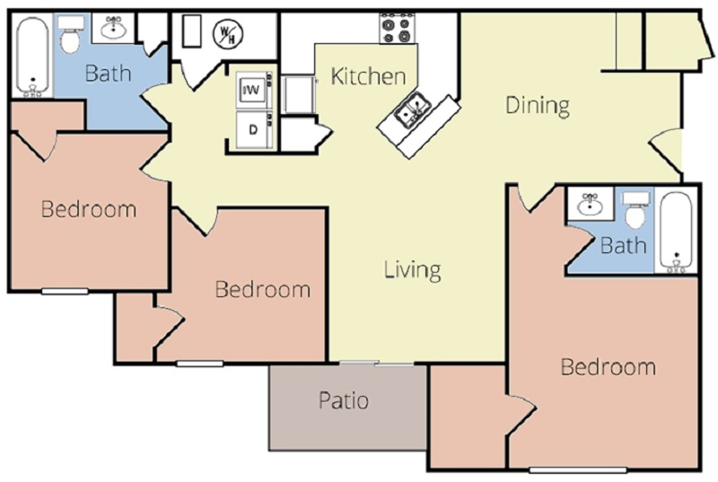 Magnolia Pointe Apartments - Floorplan - Magnolia