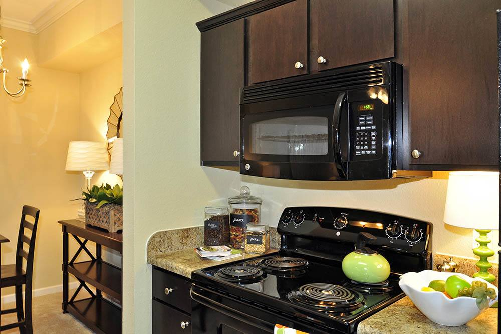 Black Appliances at Magnolia Trace Apartments in Alexandria, Louisiana