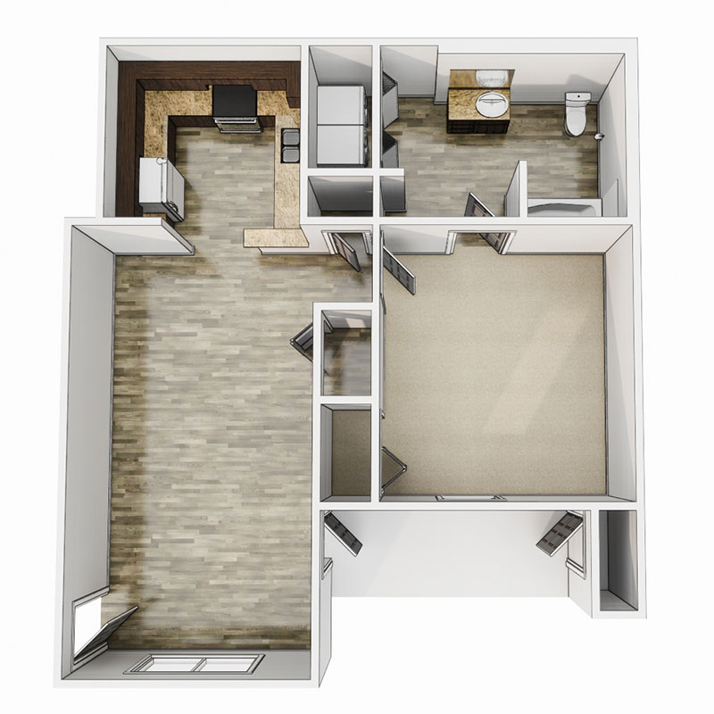Floorplan - 1 Bedroom - 60% image