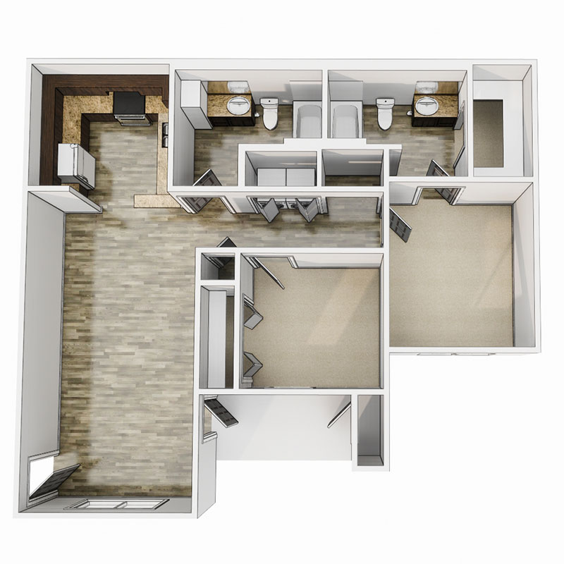 Floorplan - 2 Bedroom - 60% image