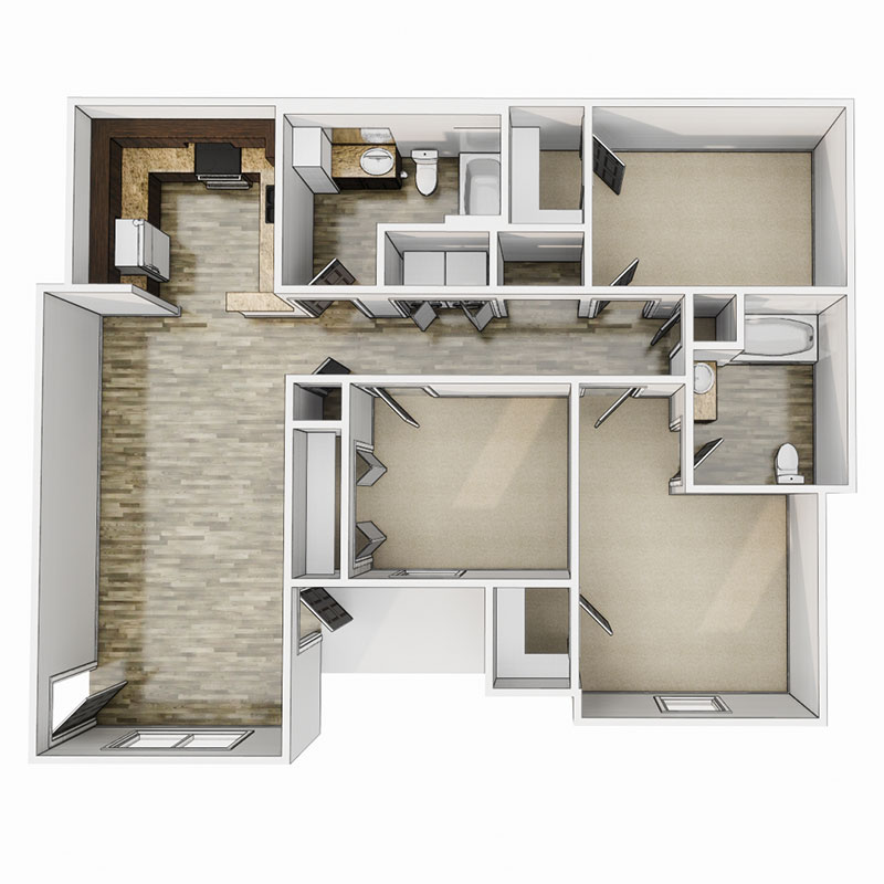 Floorplan - 3 Bedroom - 60% image
