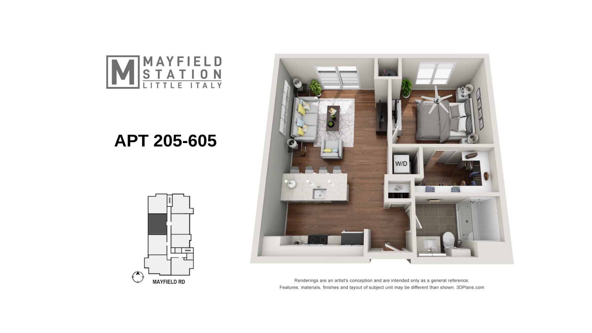 Mayfield Station Apartments - Floorplan - APT 205-605