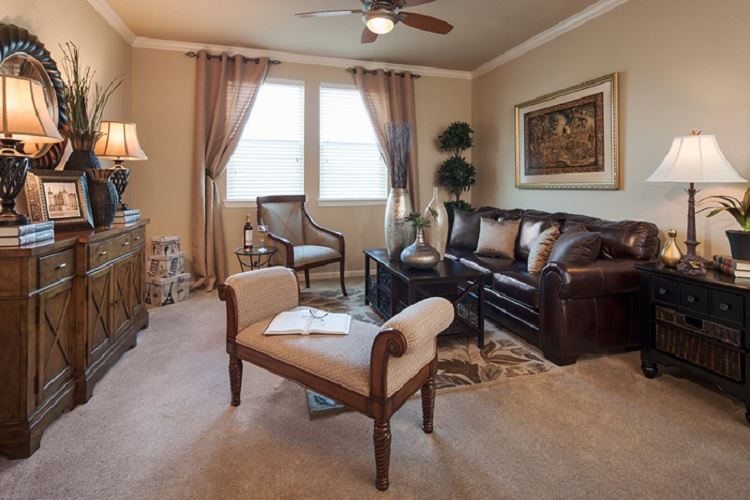Living Room at McDermott Crossing Luxury Apartments in Plano, Texas