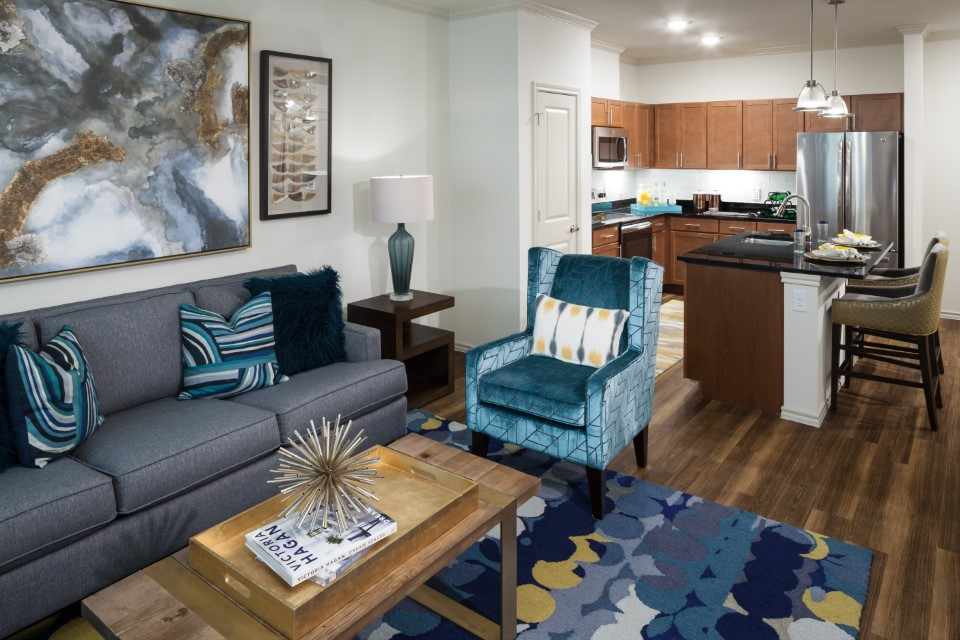 Spacious Living Area At McDermott 55 Apartments In Plano, TX
