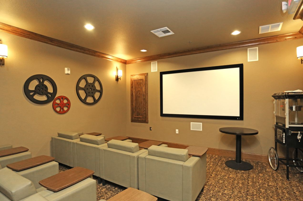On-Site Movie Theatre at McDermott Crossing 55+ Apartments in Plano, Texas