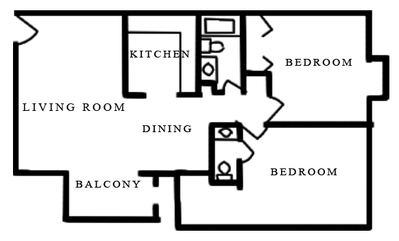 Informative Picture of 2 Bed 1.5 Bath A