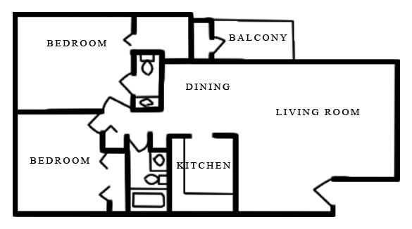 Merrimac Crossing Apartment Homes - Floorplan - 2 Bed 1.5 Bath B