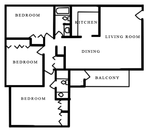 Merrimac Crossing Apartment Homes - Floorplan - 3 Bed 2 Bath A