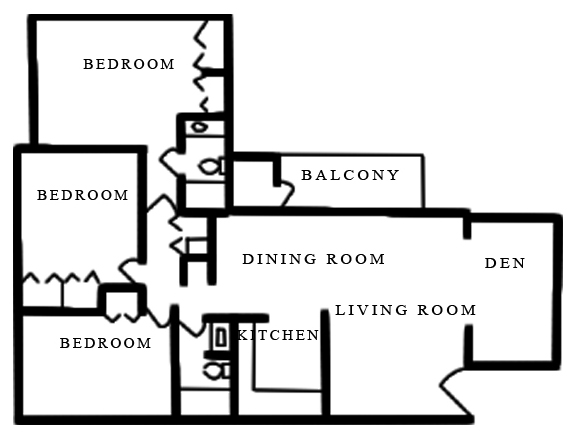 Floorplan - 3 Bed 2 Bath B image