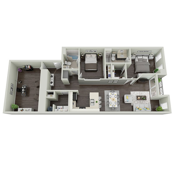 Midtown Plaza Apartments - Floorplan - Two Bedroom + Den