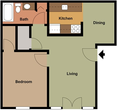 Mill House Apartments - Floorplan - MH1 A2