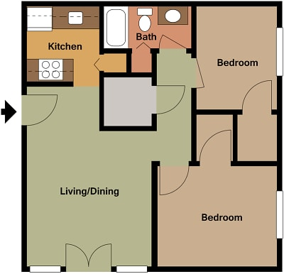 Mill House Apartments - Floorplan - MH1 B1