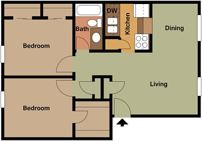 Mill House Apartments - Floorplan - MH2 B2