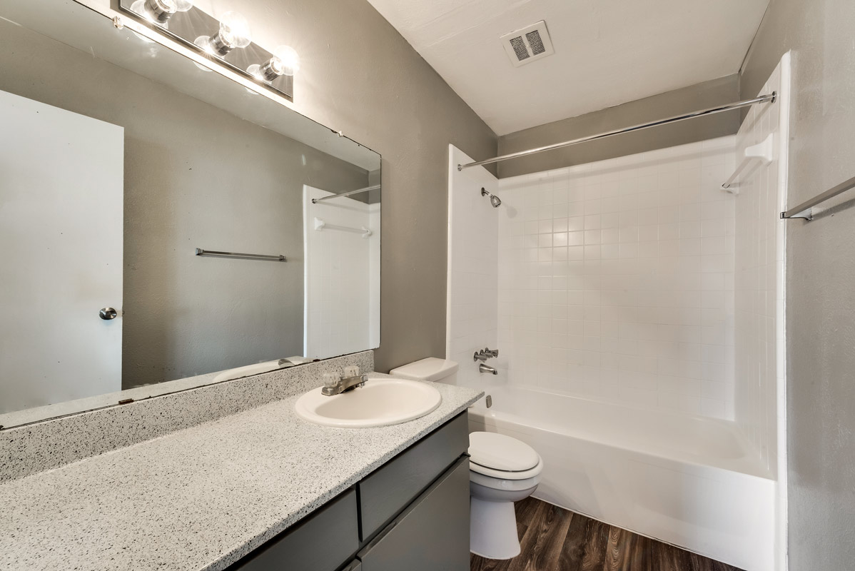 Bathtub and Shower at Mill House Apartments in Dallas, TX
