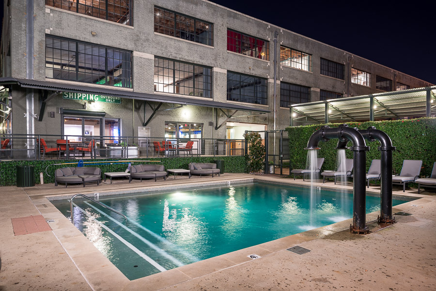 Sparkling Pool at the Mitchell Lofts Apartments in Dallas, TX
