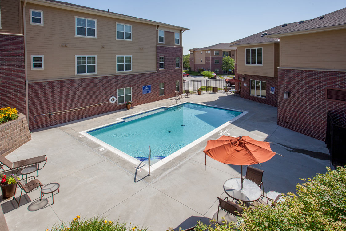 1, 2, & 3 Bedroom Apartments for Rent with Swimming Pool at Montclair Village in West Omaha, NE.