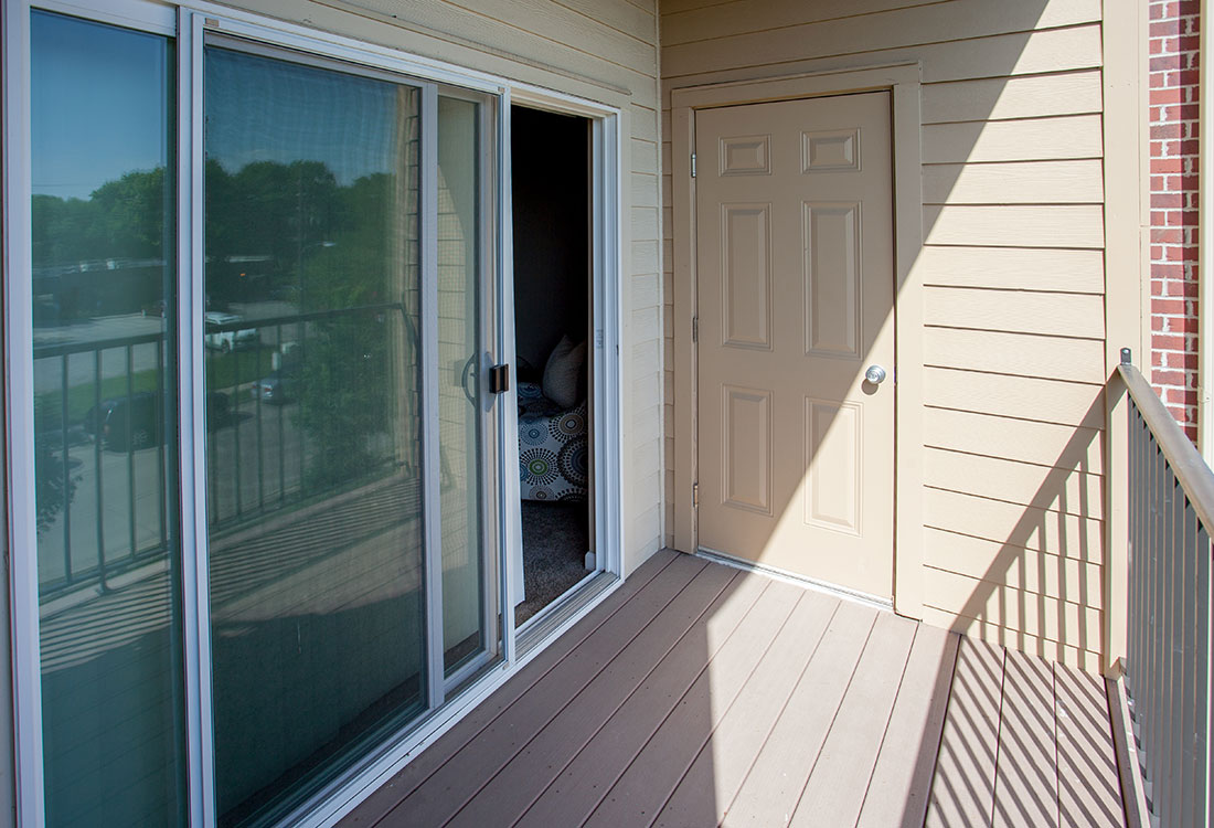 Balcony with Storage at Montclair Village Apartments in Omaha, Nebraska