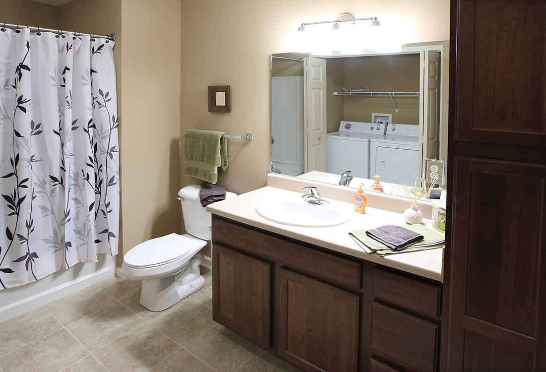 Bright Bathroom Vanity at Montclair Village Apartments in Omaha, Nebraska