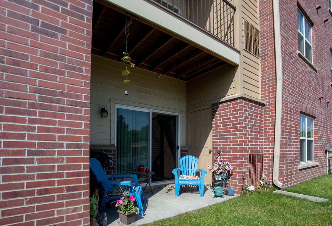 Patio with Storage at Montclair Village Apartments in Omaha, Nebraska