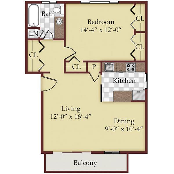 Floorplan - One Bedroom image