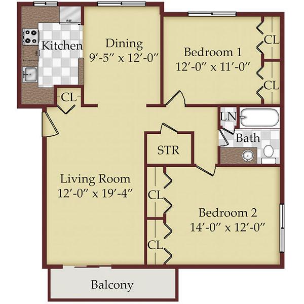 Floorplan - Large Two Bedroom image