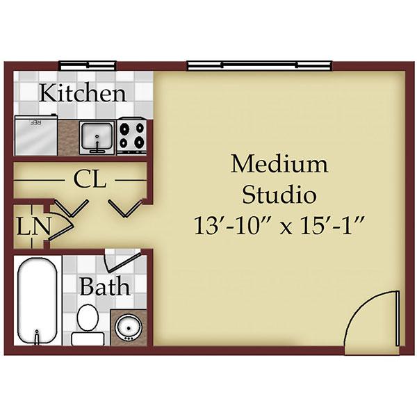 Mountainview Garden Apartments - Floorplan - Medium Studio