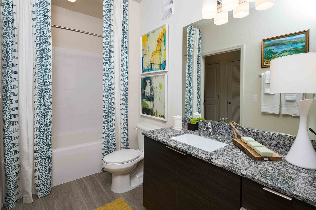 Luxurious Bathroom with Granite Counters at M South Apartments in Tampa, Florida