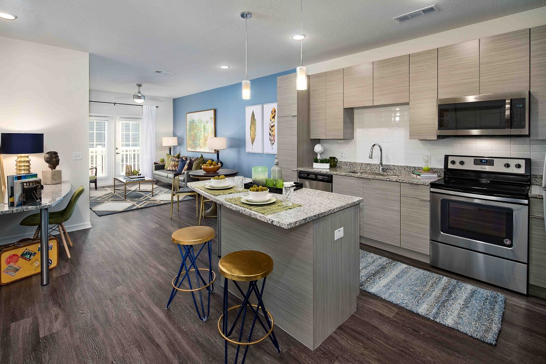 Sleek Stainless Steel Appliances at M South Apartments in Tampa, Florida
