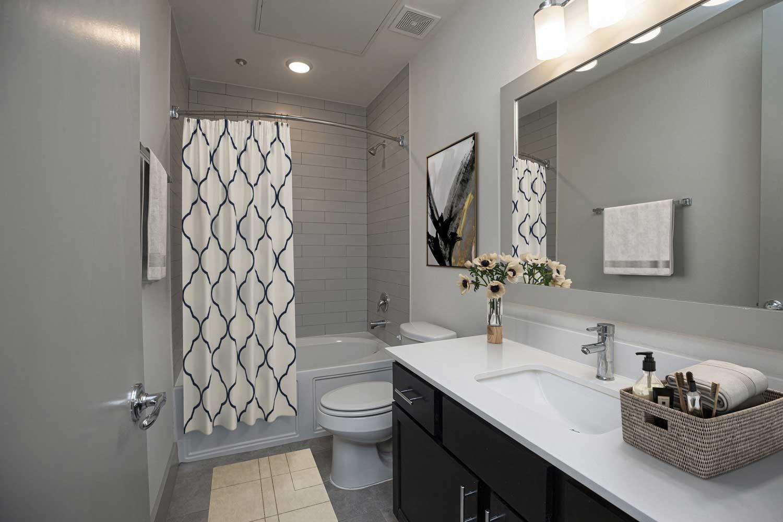Bathroom at Mt Vernon Lofts Apartments in Houston, TX