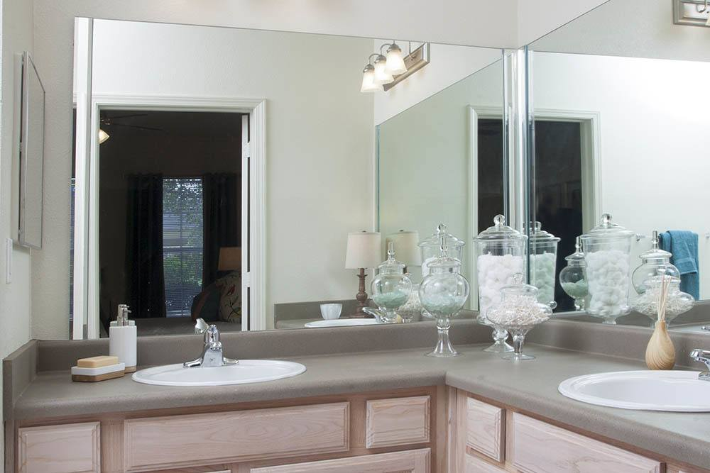 Large Bathroom Vanity at Nelson Pointe Apartments in Lake Charles, Louisiana