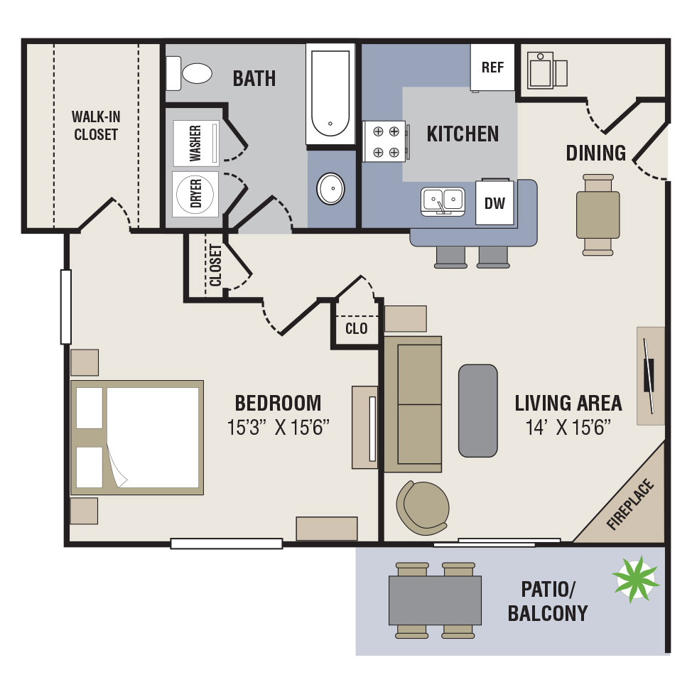 Floorplan - 1BED-1BATH - 810sqft image