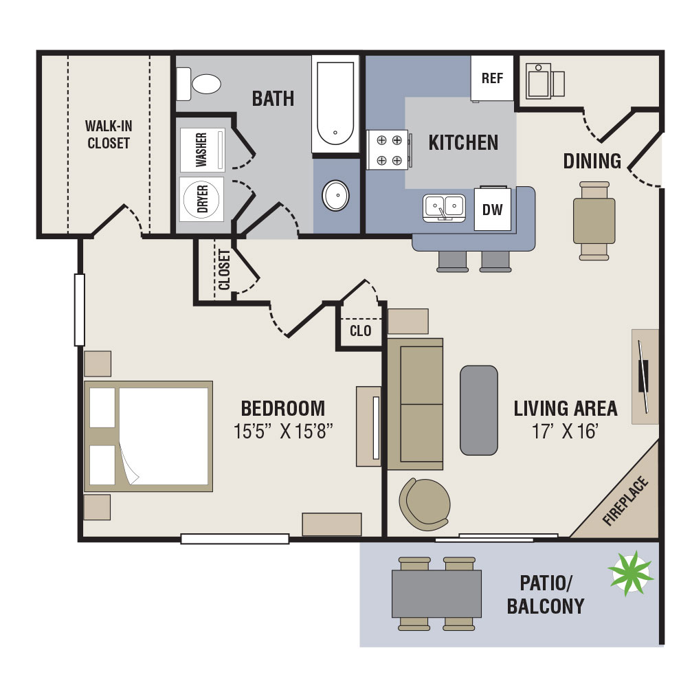 Northridge Apartments - Floorplan - 1BED-1BATH - 900sqft