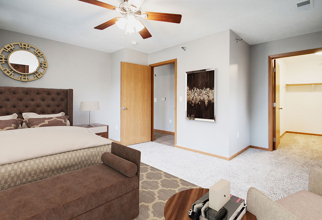 Spacious Bedrooms with Large Walk-In Closets at Northridge Apartments in Gretna, Nebraska