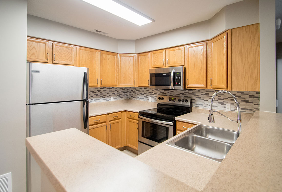 Beautiful Kitchens with New Backsplashes at Northridge Apartments in Gretna, Nebraska