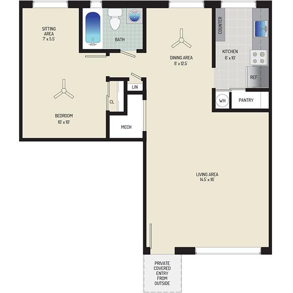 Northwest Park Apartments - Floorplan - 1 BR + 1 BA Apartment